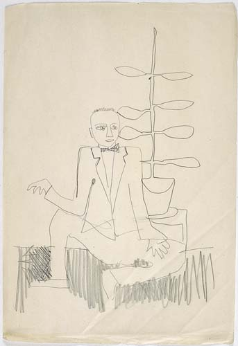 Man Sitting with a Flowerpot Beside Him