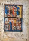 A page from The Sarajevo Haggadah: The Exodus from Egypt (with scribbles of the figure 2 done by an anonymous hand), 14th century